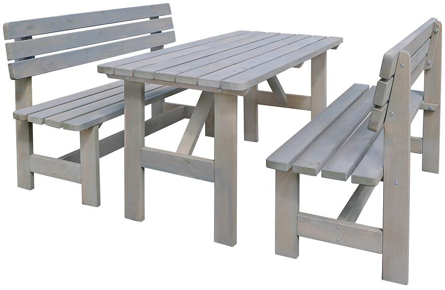 Gartenmobel Set 3 Tlg Holz Gartensitzgruppe Tisch Banke Grau