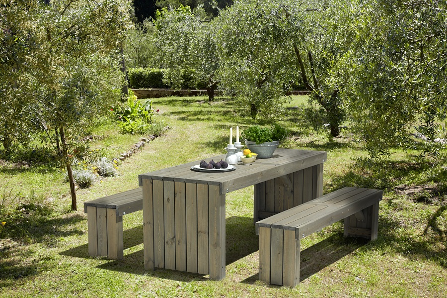 Gartenmöbel set holz grau  Moderne Gartensitzgruppe 3 tlg. Holz Gartenmöbel Set Tisch Bänke grau