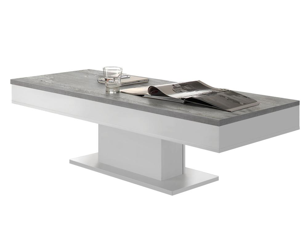 Couchtisch Weiss Beton Sofatisch 120x60 Mit Kruschfach