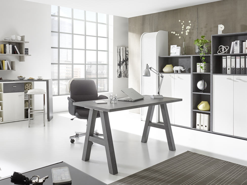 schreibtisch 160x70 computertisch home office wei matt graphit. Black Bedroom Furniture Sets. Home Design Ideas