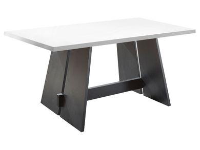 Esszimmertisch Wangentisch Design Schwarz Weiß 180x90 mit Schwarzstahl