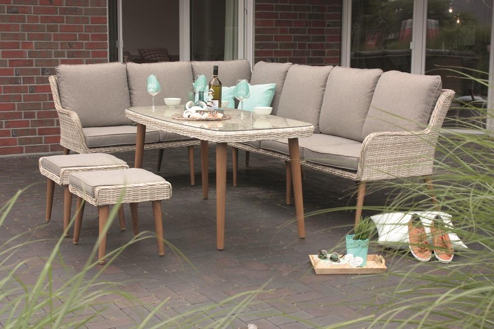 Gartenlounge Dining Lounge Geflecht Sitzgruppe Mit Sitzpolster Beige