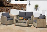 Gartenlounge Geflechtlounge Sitzgruppe beige mit Sitzpolster