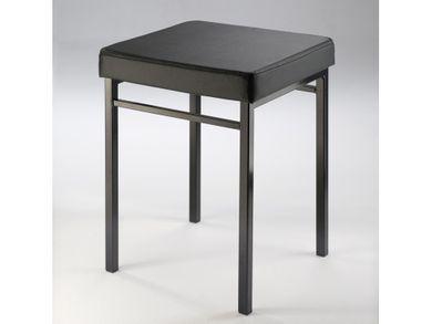 Badhocker Metall schwarz Bezug Kunstleder schwarz