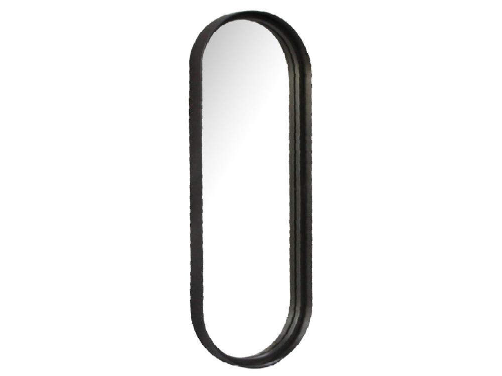 Garderobenspiegel schmal Wandspiegel Flurspiegel 60x21cm Metallrahmen schwarz 001
