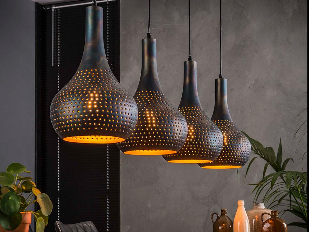 Esstischlampe Metallkegel gelocht 4 flammig schwarz braun 001