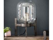 Tischlampe Tischleuchte Glaskörper Vintage Look Metall Antik silber
