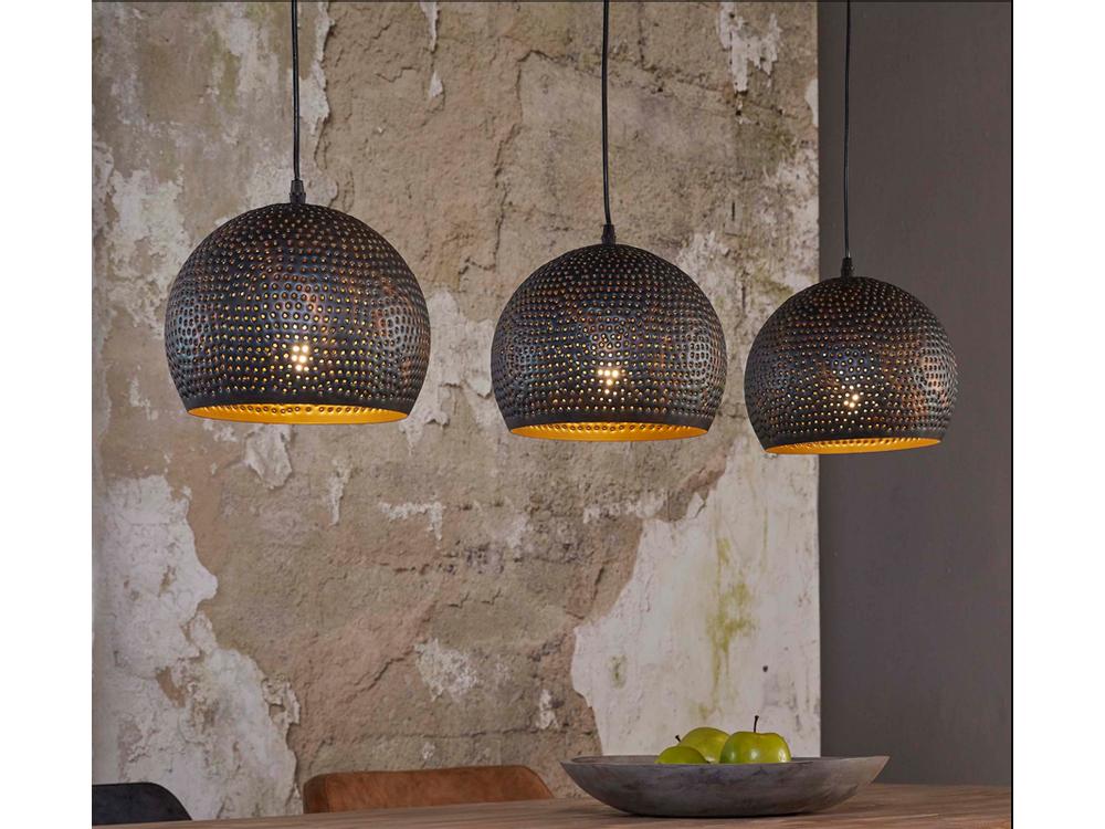 Moderne Lampen 56 : Esstisch kugelschirme gelocht 3 flammig metall schwarz braun