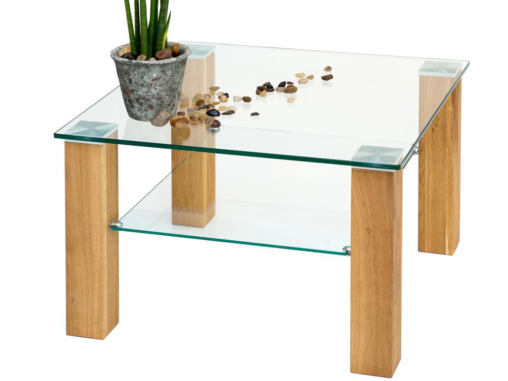 Beistelltisch glastisch massivholzbeine eiche for Glastisch wohnzimmertisch
