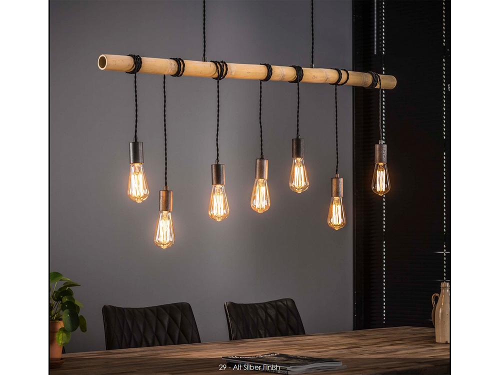 Hängelampe Esstischlampe aus Bambusholz 7 Flammig  001