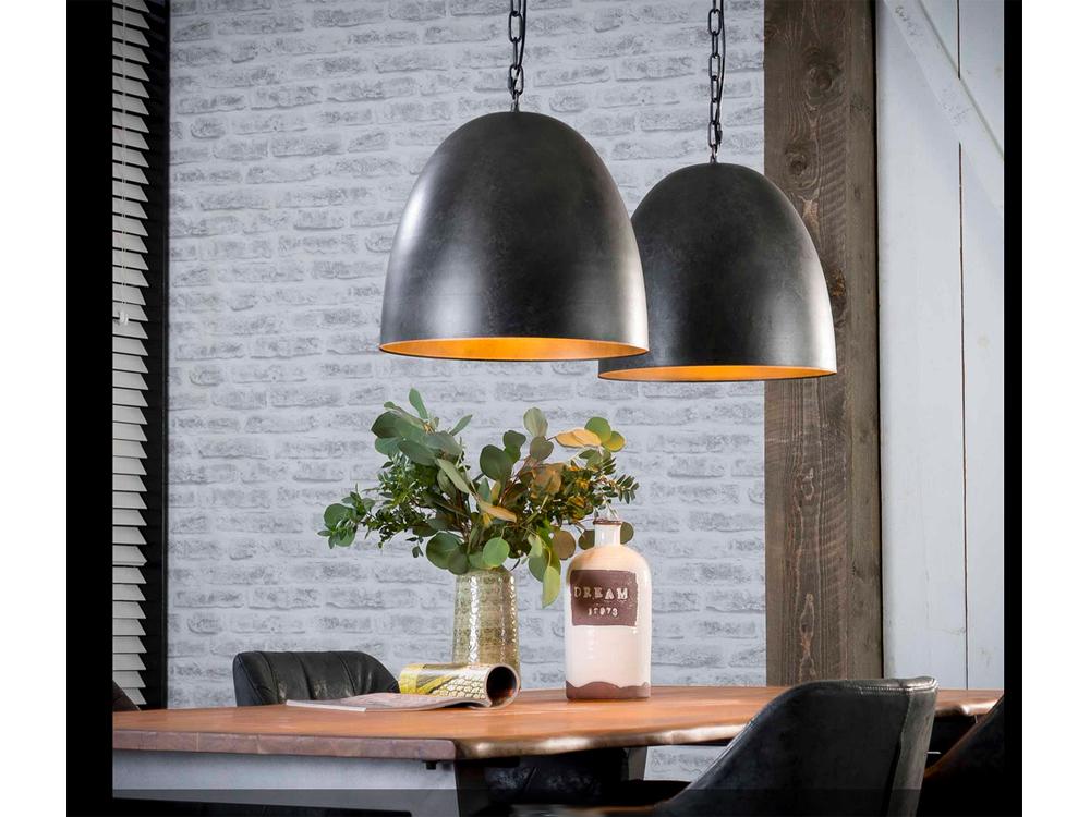 Hängelampe edle Esstischlampe mit 2 großen Lampenschirmen anthrazit 001