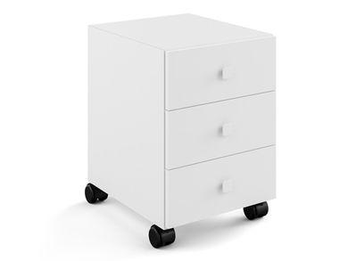 Badmöbel Badezimmerschrank Schubladenschrank Weiß 51x35 mit Rollen