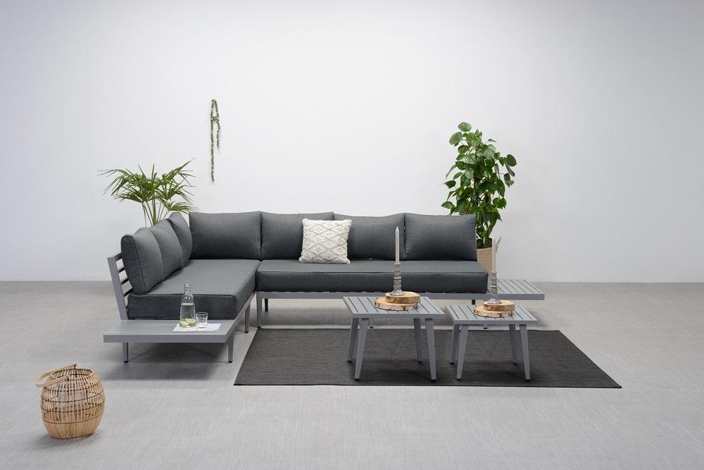 Gartenlounge Aluminium Lounge Gartenmöbel Loungegruppe grau mit Kissen 001