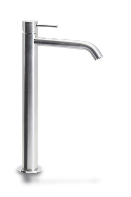 Hohe Mischbatterie für Aufsatzwaschbecken Badarmatur Edelstahl matt 001