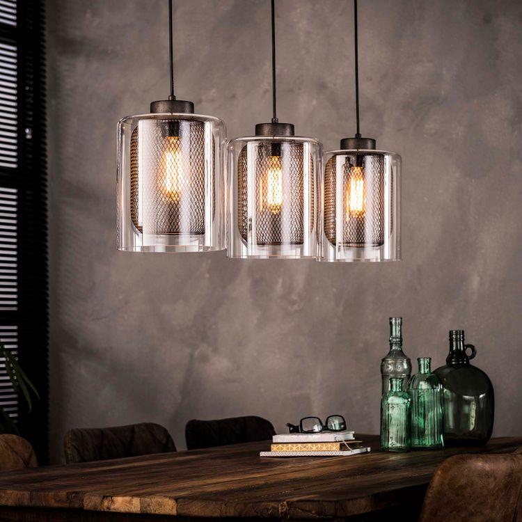 Moderne Glaslampe Hängelampe Esstischlampe Glaskörper mit Metallraster 3 flammig  001