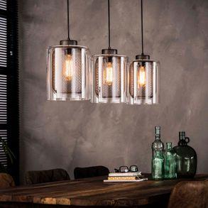 Moderne Glaslampe Hängelampe Esstischlampe Glaskörper mit Metallraster 3 flammig