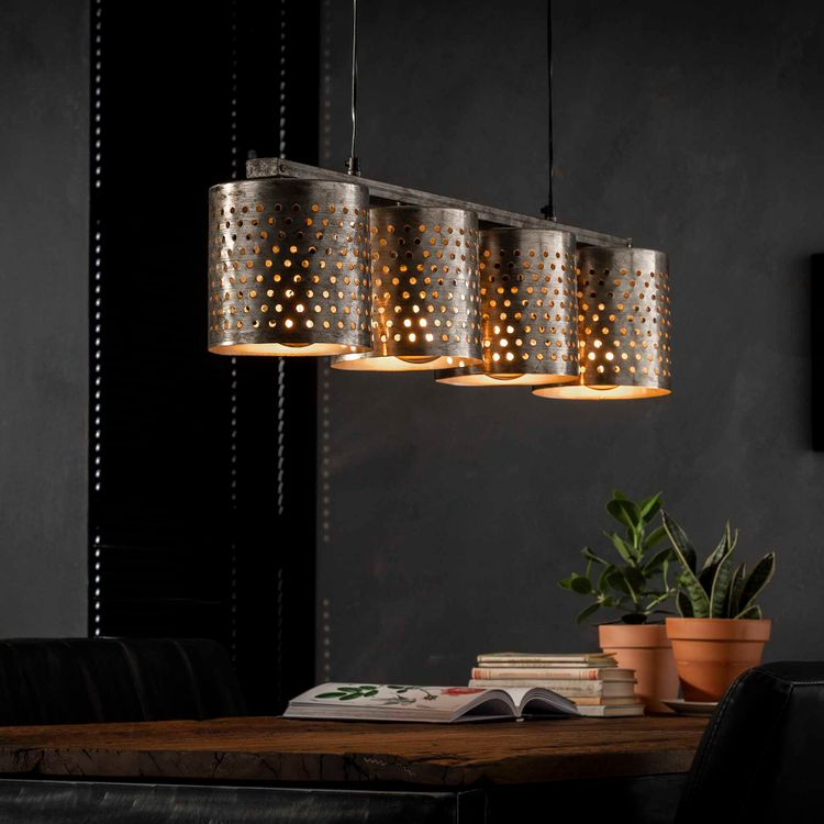 Esstischlampe Hängelampe Metall gelocht 4 flammig nickelfarben antik 001