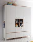 Großer Kinderzimmerschrank Dekor Asteiche Weiß matt Serie Adele