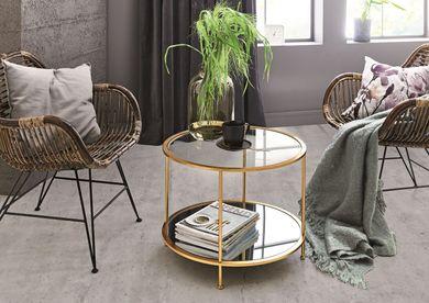 Beistelltisch Couchtisch Ø 60 cm Tischplatte Sicherheitsglas Gestell goldfarben matt