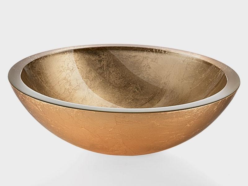 Glaswaschbecken gold Handwaschbecken Aufsatzwaschbecken 30cm Lineabeta 001