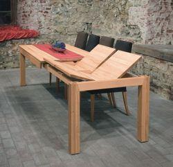 Esstisch / Tisch Adraton mit Stollenauszug, in Eiche, Asteiche, Buche, Kirschbaum, Kernbuche, Ahorn oder Nußbaum massiv