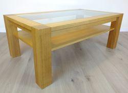 Couchtisch / Wohnzimmertisch / Sofatisch - Modell Coesfeld mit Glasplatte 130 x 75 cm Höhe 50 cm , der moderne Masstisch in Eiche vollmassiv (Kirschbaum und Buche sind auch möglich)