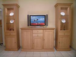 Montreux Kombination aus Säule / Vitrine mit TV-Hochanrichte für Flachbild-TV und Hifi-Geräte, Eiche massiv