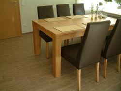 Esstisch / Tisch Variato / Coesfeld mit 2 Ansteckplatten,  der Masstisch in Eiche, Asteiche, Buche oder Kirsche massiv 4-Fuß