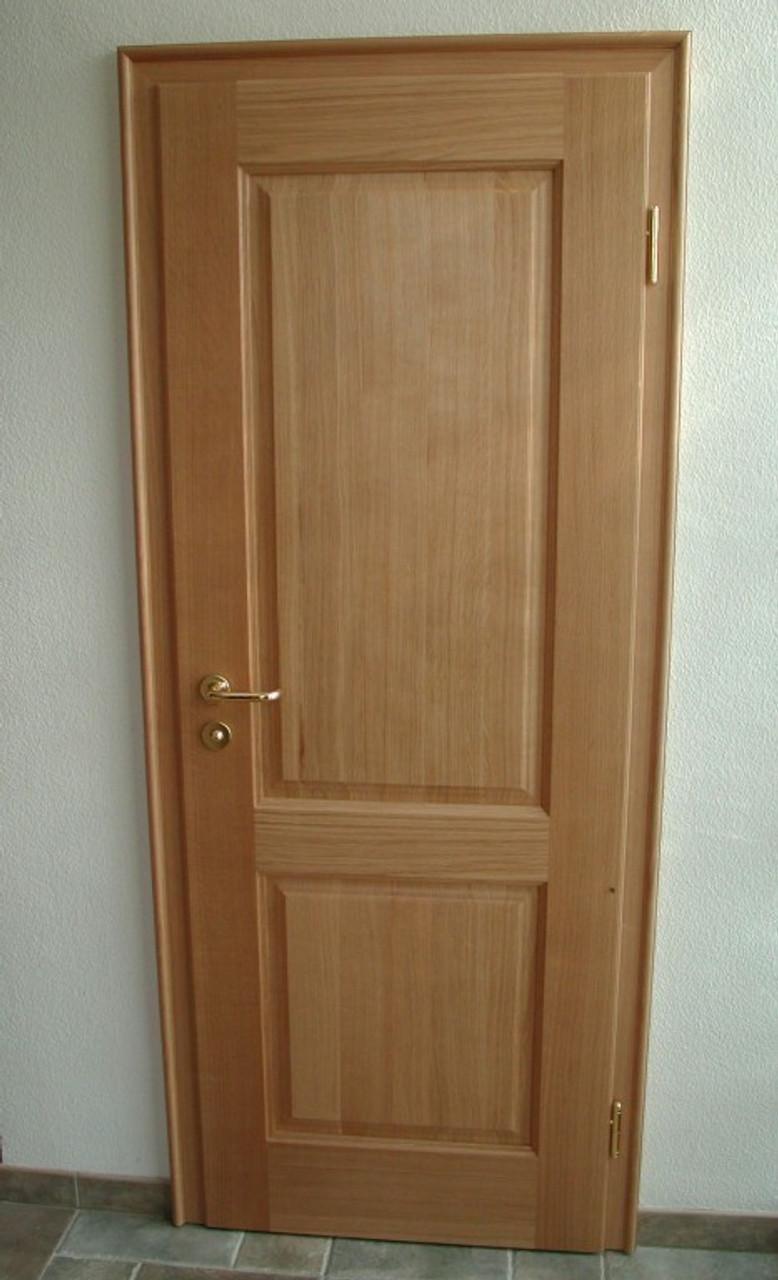 Zimmertür mit 2 eckigen Füllungen inklusive Zarge, Eiche massiv