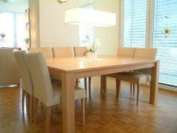Esstisch / Tisch Variato 185 X 135 cm, mit 2 Ansteckplatten, der Masstisch in Eiche, Asteiche, Buche oder Kirschbaum 4-Fuß Esstisch