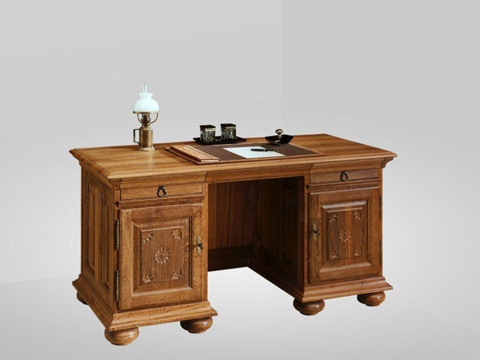 Schreibtisch Eiche Massiv schreibtisch eiche-massiv, farbton nach wunsch von rustikal bis ganz