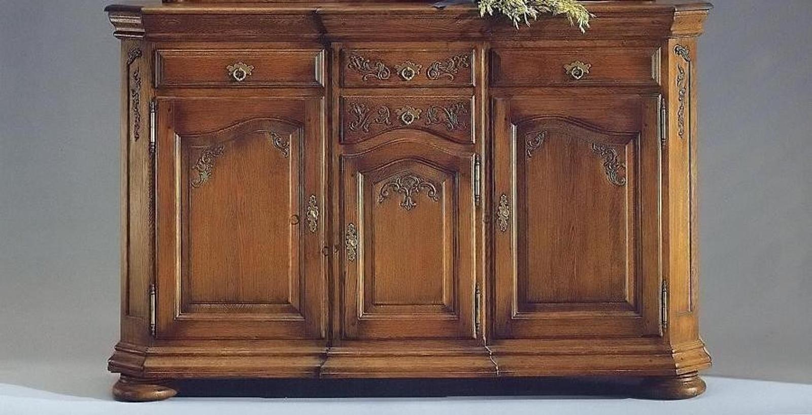 Legden Hochanrichte / Highboard / Sideboard - Eiche vollmassiv,  Eiche-antik gewischt - auch in Buche oder Kirschbaum vollmassiv
