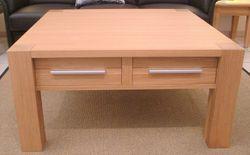 Couchtisch / Wohnzimmertisch / Sofatisch - Modell Coesfeld - 4 Stollen Tisch mit Holzplatte und Schubladen, der moderne Masstisch in Eiche, Asteiche, Buche o. Kirsche