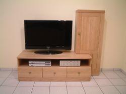 TV Anrichte für Flachbild TV und Hifi-Geräte, mit Seitenteil für CD und DVD, Eiche massiv, moderner Stil