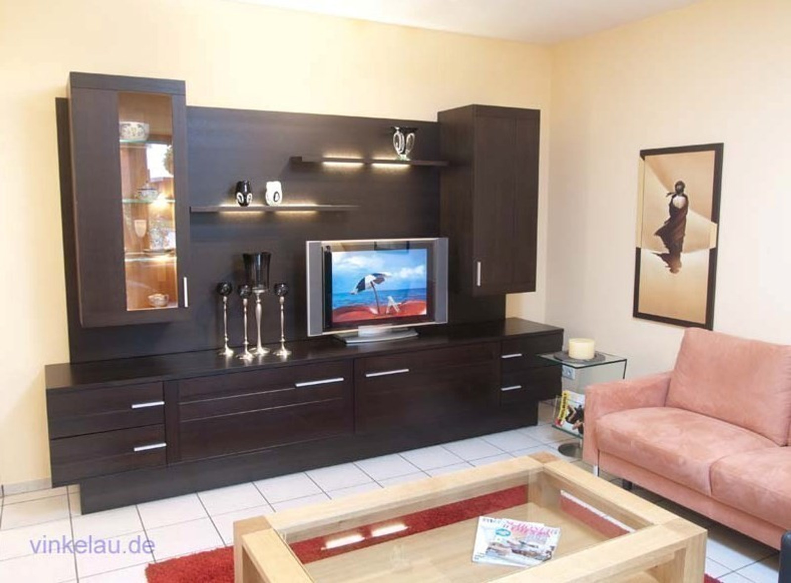 moderne wohnwand ostland eiche massiv mit h ngevitrinen schiebet ren und steckb den moderne. Black Bedroom Furniture Sets. Home Design Ideas