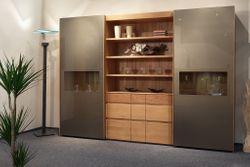 Vollholz Schrank Moderna AR 284 mit 2 Schiebetüren mit Glasfront, mit offenem Regal, Eiche oder Kernbuche massiv, modern