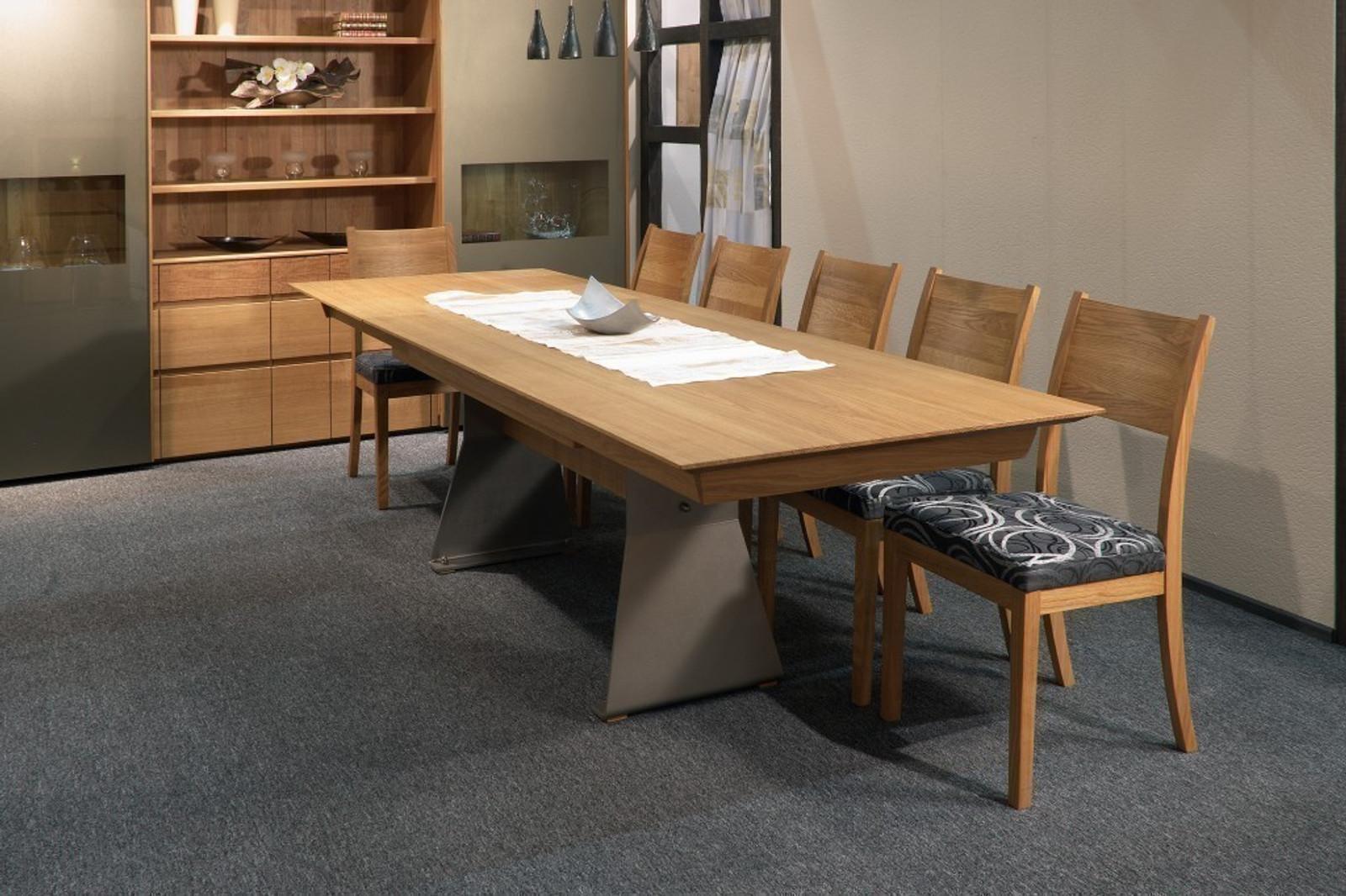 esstisch tisch moderna mit metallwange in eiche asteiche buche kirschbaum kernbuche. Black Bedroom Furniture Sets. Home Design Ideas