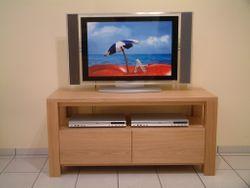 TV Stollen Anrichte Coesfeld, Breite 124 cm, mit 1 offenen Fach für Geräte, mit 2 Schubladen, Eiche massiv, modern
