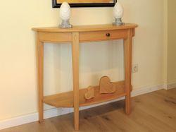 halbrunder Tisch / Wandtisch / Konsolentisch Landhaus in Eiche, Buche oder Kirschbaum massiv - Breite 98 cm Höhe 75 cm Tiefe 35 cm - optional mit Schublade und Ablageboden