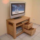 TV Stollen Anrichte Coesfeld, Breite 100 cm, mit 1 offenen Fach für Geräte, mit Nische, mit 2 Schubladen, Eiche massiv