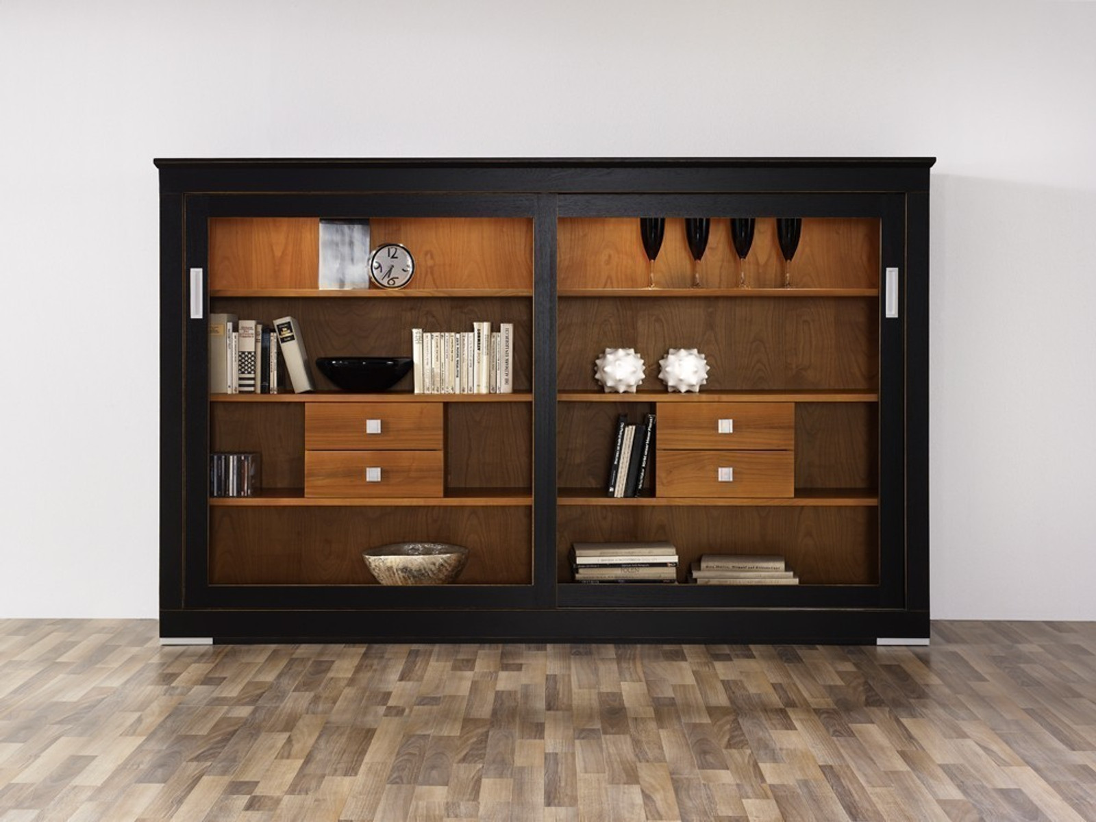 linum anrichte highboard sideboard mit schiebet ren modern landhaus eiche buche oder. Black Bedroom Furniture Sets. Home Design Ideas