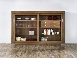 Linum Anrichte / Highboard / Sideboard mit Schiebetüren, modern Landhaus / Eiche Buche oder Kirschbaum vollmassiv