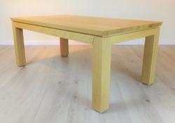 Couchtisch / Wohnzimmertisch / Sofatisch Adraton 130 X 70 - Höhe 52 cm, mit angeschrägter Holztischplatte, Eiche, Asteiche, Buche, Kirsche etc.