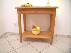 Couchtisch / Wohnzimmertisch / Beistelltisch / Wandtisch / Konsolentisch  Eiche massiv, Modell: Landhaus 70 X 40 cm - Höhe 70 cm, mit Schublade und Ablage