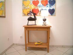 Couchtisch / Wohnzimmertisch / Beistelltisch / Wandtisch / kleiner Tisch Eiche massiv, Modell: Landhaus 70 X 40 cm - Höhe 70 cm, mit Schublade und Ablage
