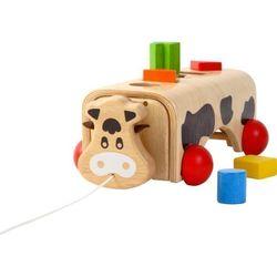 GEO-KUH / Steckspielzeug-Kuh mit 5 geometrischen Formen aus Holz / Maße: 30x16x10 cm / für Kinder ab 19 Monaten geeignet