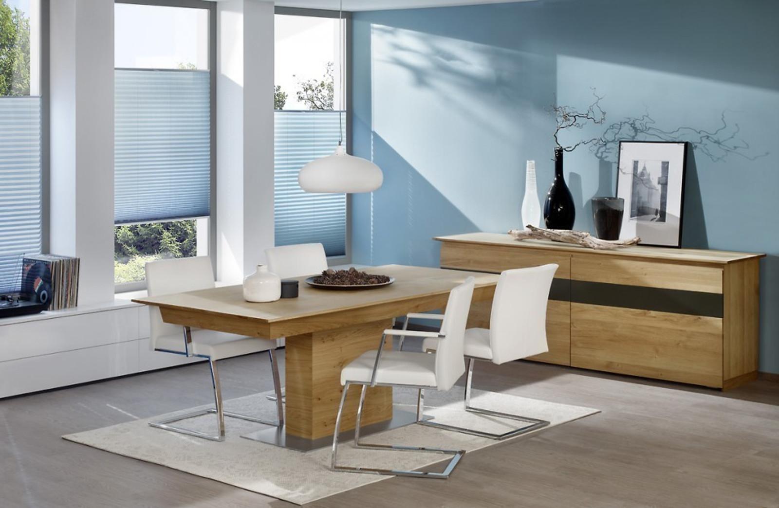 Esstisch / Tisch Säulentisch / Mittelfußtisch Moretta mit Vergrößerung, in Eiche, Kirschbaum, Kernbuche oder Buche vollmassiv