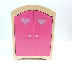 Puppenkleiderschrank inkl. 5 Kleiderbügeln / Material: Holz / Farbe: natur/pink/rosa / Maße: 44,5 x 21,5 x 61 cm / Gewicht: 8,1 kg