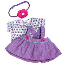 Kleidung Party Collection - Little Maria / 1 x lila gestreiftes Kleid mit gemustertem Shirt + Haarreif passend für Little Rubens  Maria