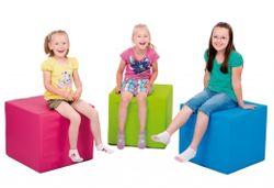 1 x Pänz Spiel- und Sitzwürfel  hellblau  - Kantenlänge: 45 cm - Höhe: 50 cm / Material: phthalatfreier Planenstoff